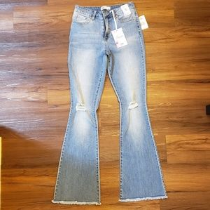 Distressed flared jeans high waisted jeans